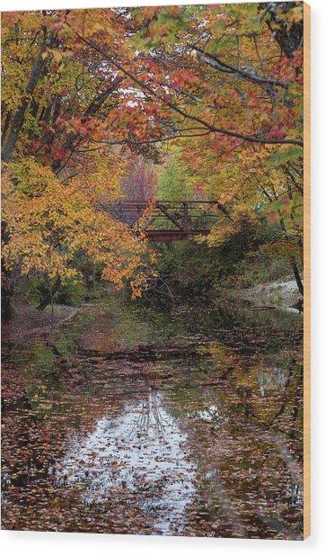Danbury Bridge In Fall Wood Print