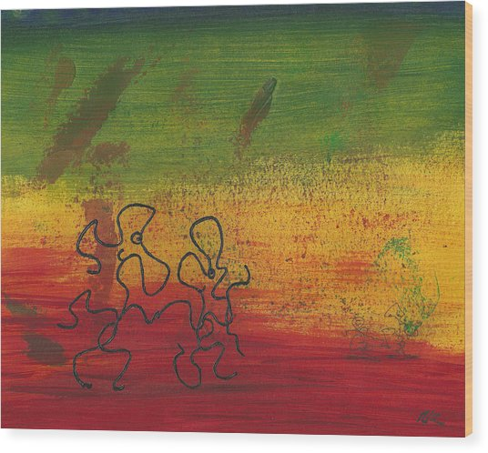 Dance Art Dancing Couple 28b Wood Print