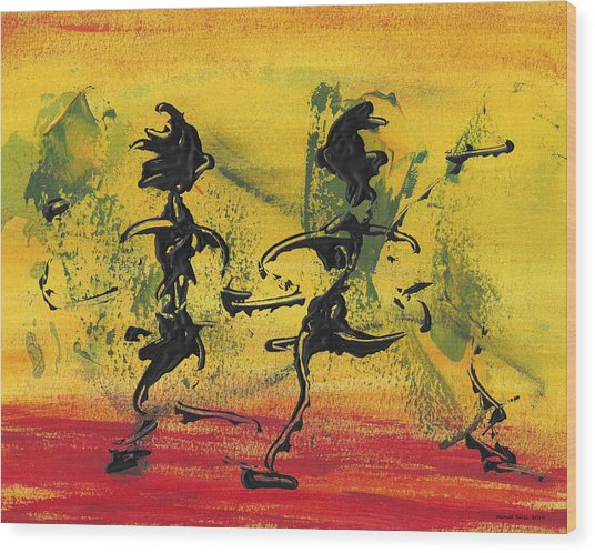 Dance Art Dancing Couple Viii Wood Print