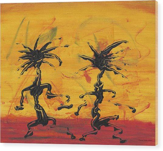 Dance Art Dancing Couple X Wood Print