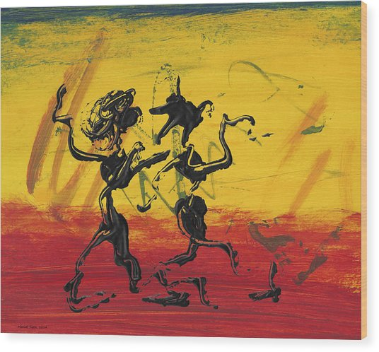 Dance Art Dancing Couple Xii Wood Print