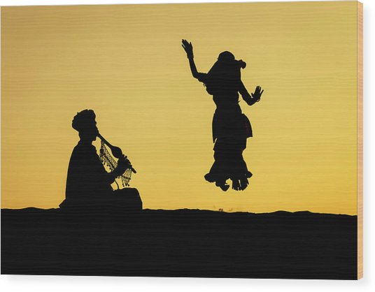 Dance In The Dunes, Jaisalmer Wood Print