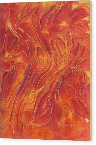 Dance Of Fire Wood Print by Maureen Frank The Mandala Lady