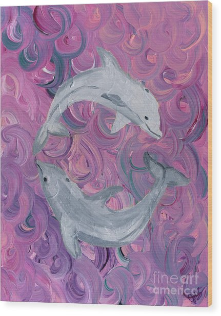 Dance Of The Dolphins Wood Print