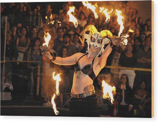 Dance On Fire Wood Print by Joe Longobardi