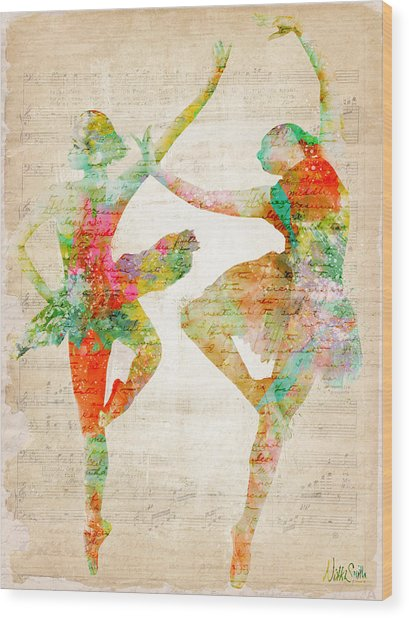 Wood Print featuring the digital art Dance With Me by Nikki Smith