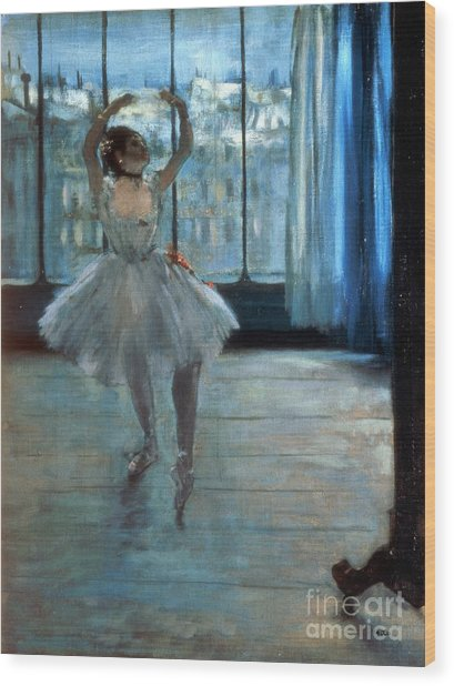 Dancer In Front Of A Window Wood Print