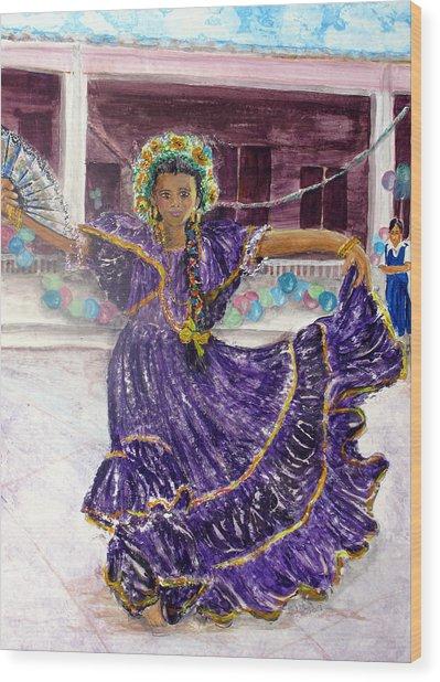 Dancer In Purple Wood Print