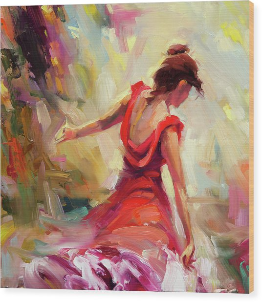 Wood Print featuring the painting Dancer by Steve Henderson