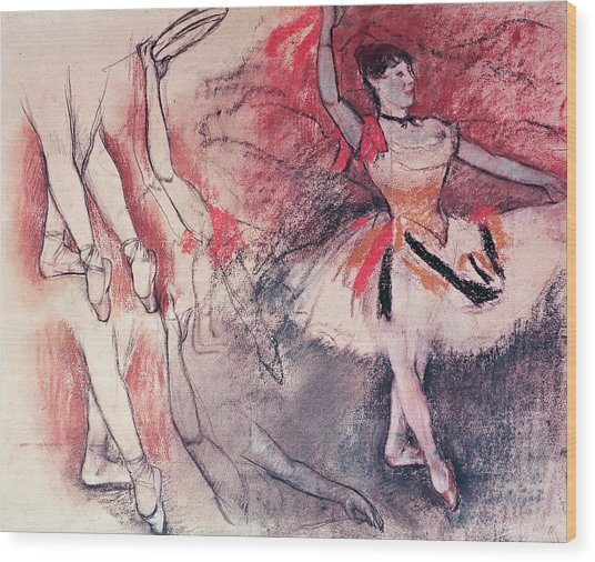 Dancer With Tambourine Or Spanish Dancer Wood Print