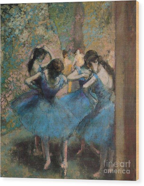 Dancers In Blue Wood Print