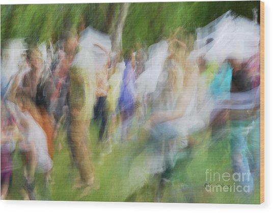 Dancing At The Music Festival Wood Print
