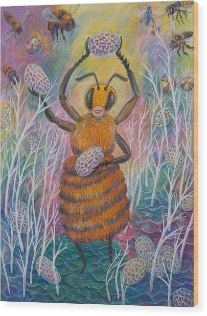 Dancing Bee Wood Print