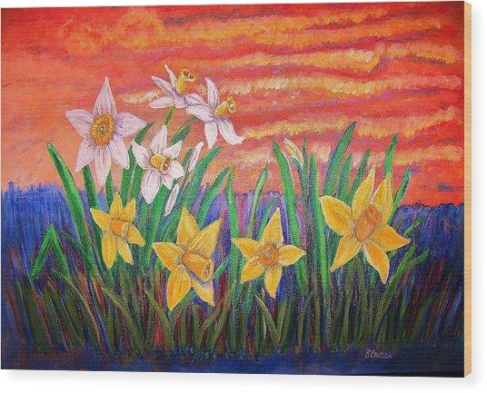 Dancing Daffodils Wood Print