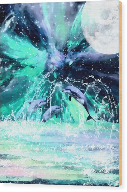 Dancing Dolphins Under The Moon Wood Print