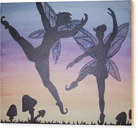 Dancing Fairy Couple Wood Print by Amy Lauren Gettys