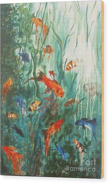 Dancing Fish Wood Print