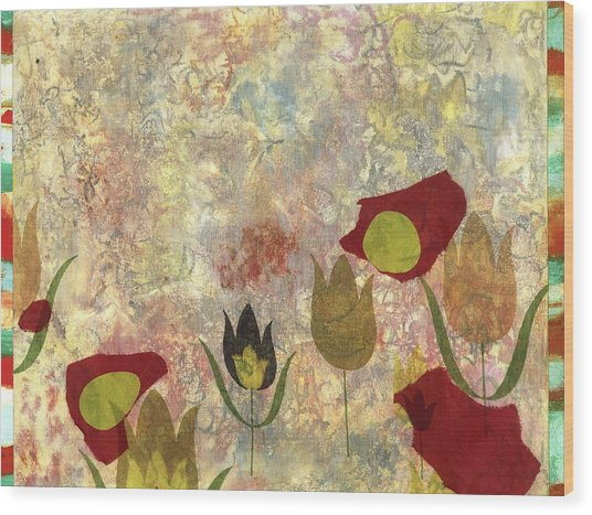 Dancing Flowers Wood Print