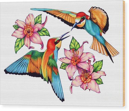 Dancing Bee-eaters  Wood Print