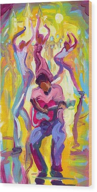 Dancing In The Streets Wood Print by Saundra Bolen Samuel