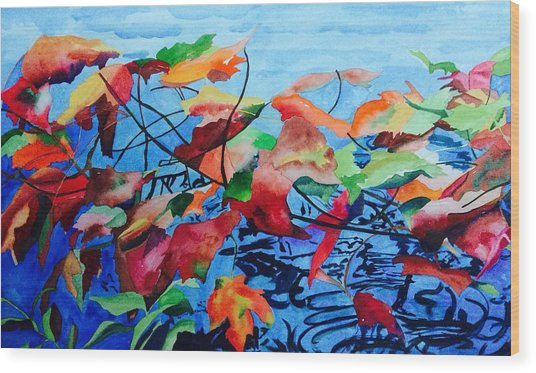 Wood Print featuring the painting Dancing Over Water by Patti Ferron