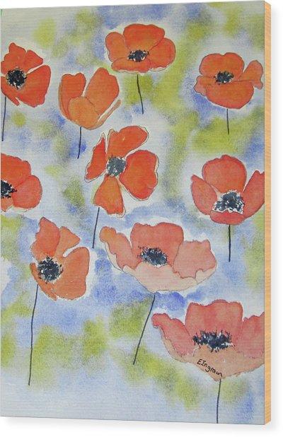 Dancing Poppies Wood Print
