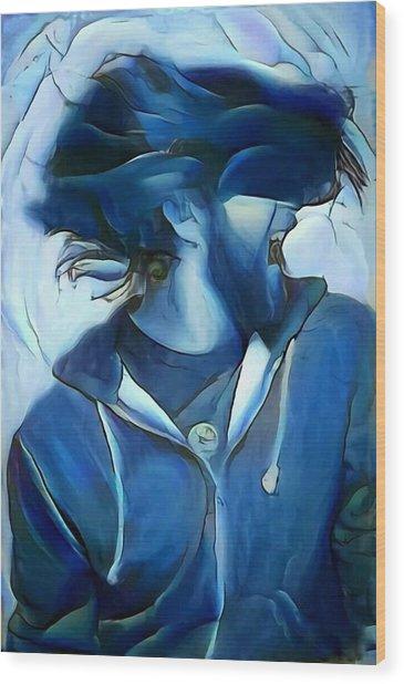 Dancing Portrait Of Wild Male Hair In Blue Wood Print by MendyZ