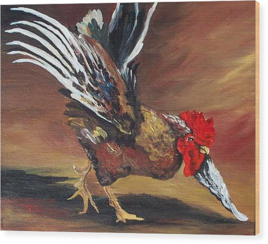 Dancing Rooster  Wood Print by Torrie Smiley