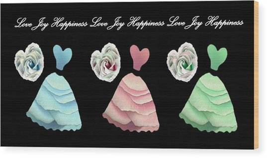 Dancing The Love Dance - Love Joy Happiness No. 3 Wood Print by Jacqueline Migell