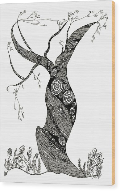 Dancing Tree Wood Print