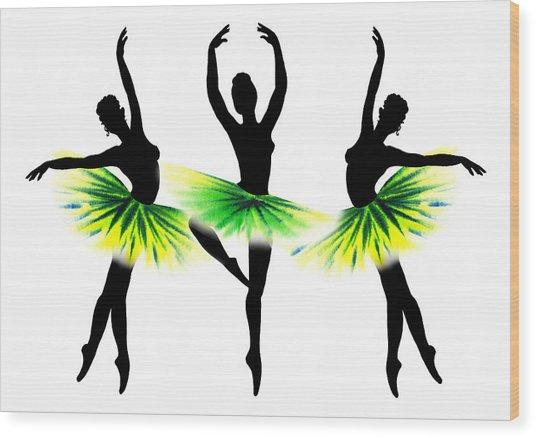 Dancing Tutus In Neon Green Wood Print