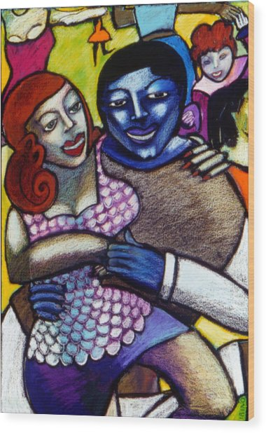 Dancing With A Blue Man Wood Print by Angelina Marino