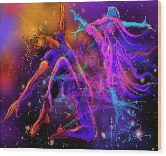Dancing With The Universe Wood Print