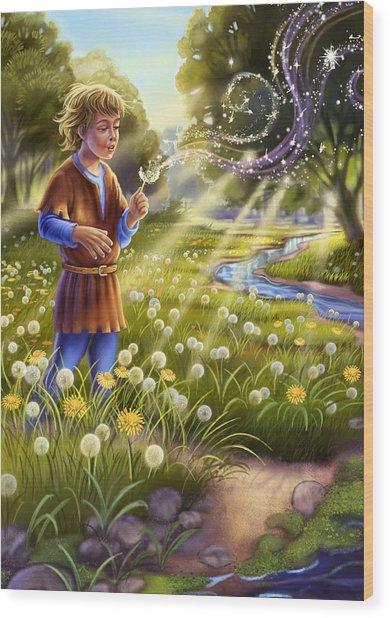 Dandelion - Make A Wish Wood Print