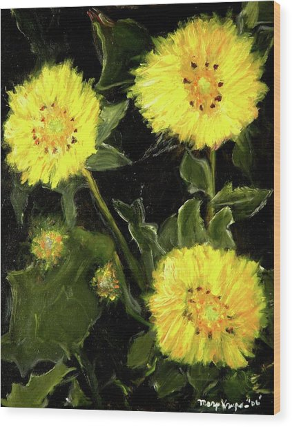 Dandelions By Mary Krupa  Wood Print