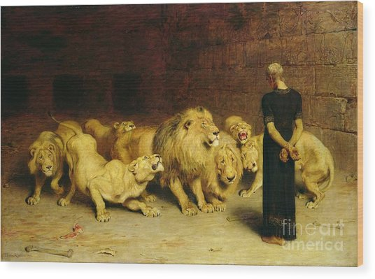 Daniel In The Lions Den Wood Print