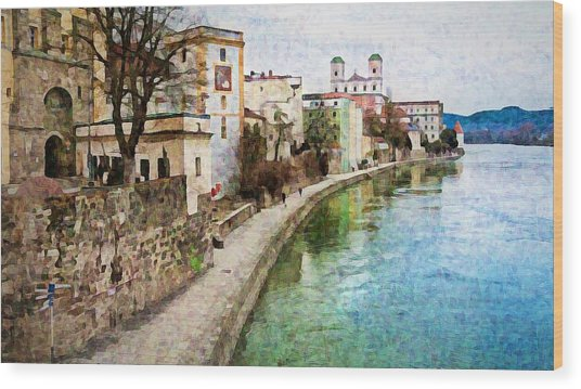 Danube River At Passau, Germany Wood Print