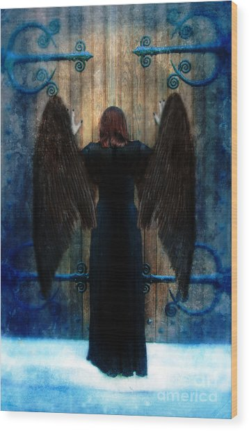 Dark Angel At Church Doors Wood Print