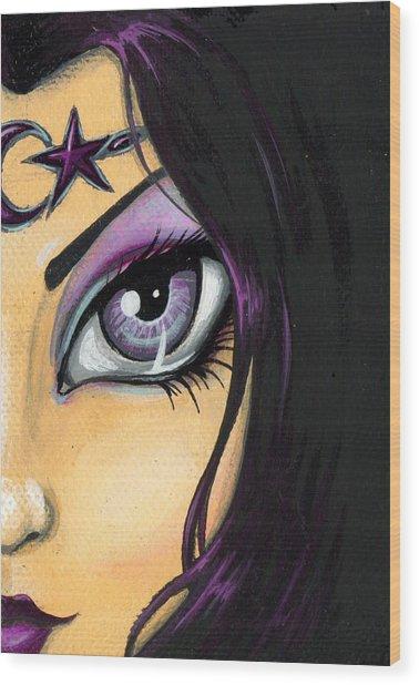 Dark Celestial Goddess Wood Print by Elaina  Wagner
