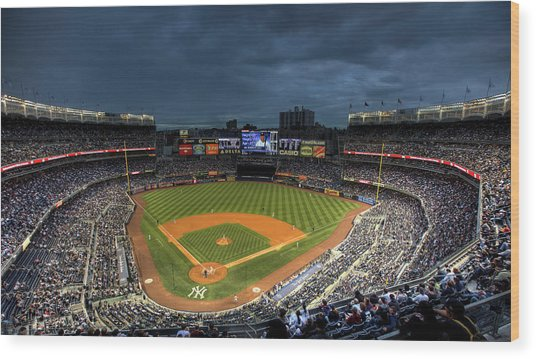 Dark Clouds Over Yankee Stadium  Wood Print