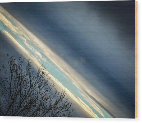 Dark Clouds Parting Wood Print