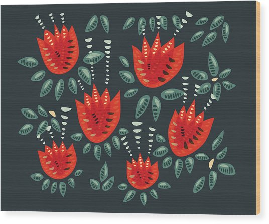Dark Floral Pattern Of Abstract Red Tulips Wood Print