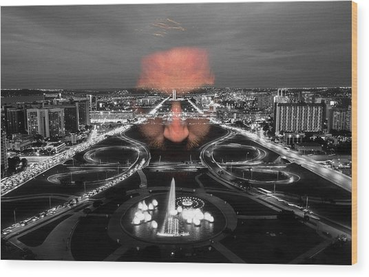 Wood Print featuring the digital art Dark Forces Controlling The City by ISAW Company