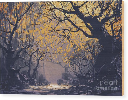 Wood Print featuring the painting Dark Forest by Tithi Luadthong