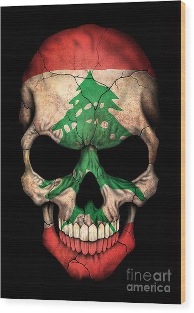 Dark Lebanese Flag Skull Wood Print
