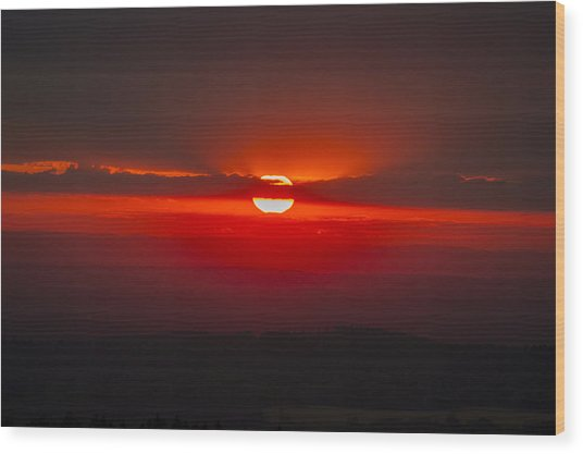 Dark Red Sun In Vogelsberg Wood Print