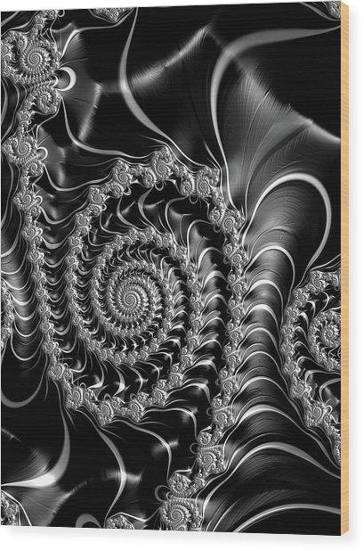 Dark Spirals - Fractal Art Black Gray White Wood Print