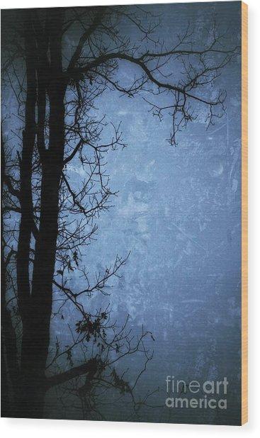 Dark Tree Silhouette  Wood Print