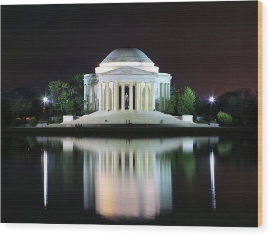 Darkness Over The Jefferson Memorial Wood Print