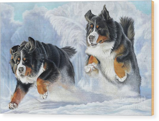 Wood Print featuring the painting Dashing Through The Snow by Donna Mulley